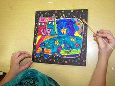 3rd Grade Laurel Burch Cats by Paintbrush Rocket, via Flickr