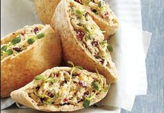 Fruity Tuna Salad Pitas—The typical tuna salad sandwich has kids and adults begging for a change. With this sandwich's addition of fresh dill, dried fruit and cheese, tuna salad now has a little something? Best Fish Recipes, Pita Recipes, Lunch Recipes, Summer Recipes, Seafood Recipes, Cooking Recipes, Favorite Recipes, Fun Cooking, Sandwich Recipes