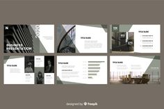 Business presentation slides with photo Free Vector Corporate Presentation, Presentation Slides, Presentation Design, Web Design, Slide Design, Design Art, Business Powerpoint Templates, Keynote Template, Software