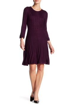Chaps Ralph Lauren Fit /& Flare Red Textured Dress Short Sleeves NWT $100
