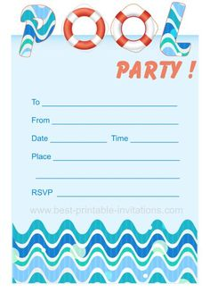 Pool Party Birthday Printable Invitations | Birthdays, Surfer ...