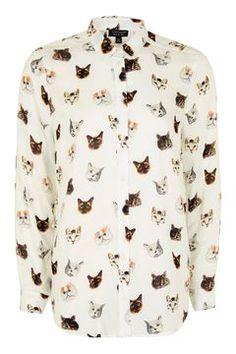 Long Sleeve Multi Cat Print Shirt