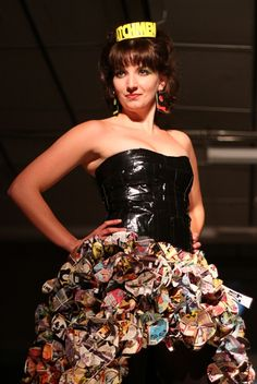 My recycled fashion show dress, made out of pages of Watchmen.