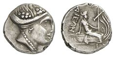 Euboea, Histiaia, silver Diobol, 178-168 BC, Aversum: maenads head to the right, in the hair Korymben, reverse: Histiaia in a long robe on a Prora to the right sitting, with the left a Stylis holding, the right based on the deck structure, BCD Euboea 402.1. 75 g, good very fine    Dealer  Auction house Ulrich Felzmann    Auction  Minimum Bid:  80.00EUR