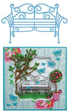 Marianne Design Creatables Die - Bancde  jardin en métal LR0258 + topiaire et papillon 1 LR0261