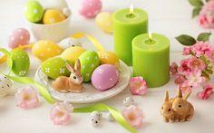 Скачать обои easter, eggs, flowers, пасха, яйца, цветы, ленты, раздел праздники в разрешении 1440x900