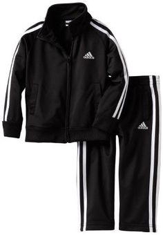 adidas Boy's Iconic Tricot Set, Size: 5, Black