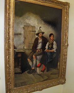 19th Century Genre Painting by Dieger Munchen, Listed Austrian Artist.  1878.
