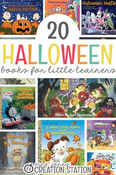 Teaching our little learners all about Halloween is such a fun and important unit to explore this time of year. You'll get to watch little minds be amazed as they learn all about Halloween. It's SO FUN to watch them read through Halloween books, too! 20 Halloween Books for Little Learners - Mrs. Jones' Creation Station #TeachingIdeas #Reading #HalloweenBooks #TeachersPayTeachers #MrsJonesCreationStation