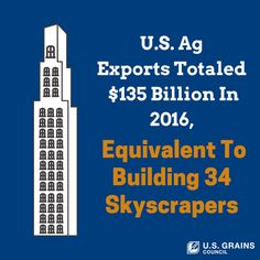 U.S. ag exports totaled $135 billion in 2016, equivalent to building 34 skyscrapers. - from U.S. Grains Council on Twitter, @USGC Agriculture Facts, Skyscrapers, Grains, Twitter, Building, Skyscraper, Buildings, Seeds, Construction