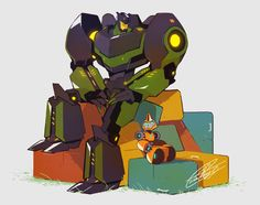 """Grimlock and Fixit - TF:RID2015 ...they're practically what my thought processes would sound like out loud... 'Sideswipe told me a riddle!!  Why was I far outside of base, repeatedly saying """"Escape""""?' 'I don't know, why?' 'I don't know either!!' *hysterical laughing from both*"""
