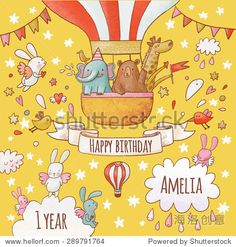 Lovely happy birthday card in bright summer colors. Sweet animals: elephant, bear and giraffe in air balloon around flying rabbits in the sky. Awesome personalized childish background in vector