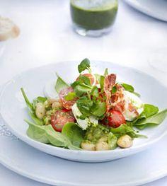 Spinat-Brunnenkresse Salat mit Schinken