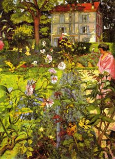 Edouard Vuillard, Garden at Vaucresson, Collection of the Metropolitan Museum of Art, New York Pierre Bonnard, Edouard Vuillard, Beaux Arts Paris, Kunst Online, Garden Painting, Fine Art, Renoir, Claude Monet, Metropolitan Museum