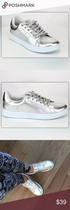 Silver Metallic Sneakers Casual cool kicks to up your style! These sneakers are fabulous with leggings, jeans, minis, you name it. Also available in gold (see separate listing). The NEW Boutique Shoes Sneakers