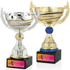 "11"" Swirl Trophy... This cup runneth over with pride when you choose it for your next awards ceremony! Our 11"" Swirl Trophy features unique colored swirl and matching trim. This plastic bowl sits on a marble base with plastic handles to match. Measuring 7-7/8"" W x 10-3/4"" H x 5-1/2"" D, your gleaming gold or silver cup can boldly showcase the winner's message on the base. Free 24-hour service. Ideal for sports teams, academic decathlons, Most Valuable Player and more!"