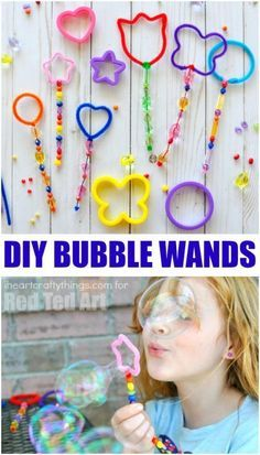 DIY Shape Bubble Wands with Cookie Cutters - we adore bubbles in the Summer. Make these wonderful Shape Bubble Wands - so quick and easy and have lots of Bubble Play. We also have a great DIY Bubble Recipe for you - mix up a big batch for the whole of sum Summer Activities For Kids, Easy Crafts For Kids, Summer Crafts, Summer Kids, Craft Activities, Toddler Activities, Projects For Kids, Diy For Kids, Fun Crafts