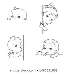 Baby boy and girl with blank frame. Smiling toddler for logotype template. Cute little baby look out, wave hand, pointing finger. Healthy child with plant text bubble. Baby Cartoon Drawing, Boy Drawing, Cartoon Drawings, Figure Drawing, Drawing Reference, Animal Sketches, Art Drawings Sketches, Toddler Drawing, Baby Sketch
