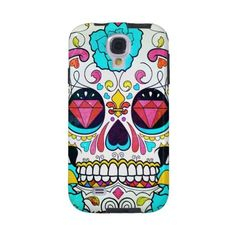 Sugar Skull and Turquoise Blue Roses Ornate Art Galaxy S4 Case (155 PEN) ❤ liked on Polyvore featuring accessories and tech accessories