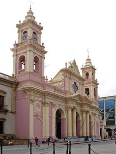 Catedral Basilica de Salta in Salta, Argentina. Founded in Salta is the best preserved colonial city high in the foothills of the Andes. Revival Architecture, Beautiful Architecture, Beautiful Buildings, Vintage Architecture, Religious Architecture, Argentina South America, Equador, Christian Church, Christian Art