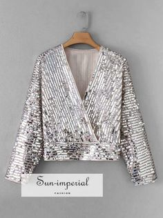 SheIn Casual Contrast Sequin Plain Top Regular Fit V Neck Long Sleeve Pullovers Silver Regular Length Sequin Wrap Blouse Blouse Sexy, Peplum Blouse, Wrap Blouse, Plus Sise, Spring Shirts, Spring Blouses, Casual, Mode Hijab, Sequin Top