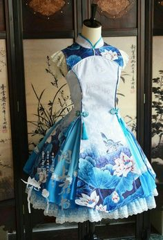 Beautiful blue wa-lolita dress with lotus and birds: asian fashion Source by mintbudgie fashion Pretty Outfits, Pretty Dresses, Beautiful Dresses, Cool Outfits, Kawaii Fashion, Lolita Fashion, Cute Fashion, Estilo Lolita, Japanese Fashion