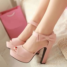 Kawaii bow chunky heel open toe under $20