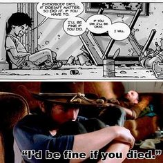 """""""I'd be fine if you died"""" - The comics vs the TV show - TWD Walking Dead Comic Book, Walking Dead Quotes, Walking Dead Comics, Walking Dead Tv Series, Walking Dead Season, Fear The Walking Dead, Twd Comics, Zombie Survival Guide, Talking To The Dead"""