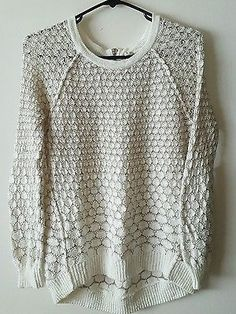 Anthropologie-Moth-Ivory-Cream-Pullover-Zipper-Sweater-100-Cotton-Size-S-Small
