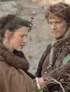 Jamie and Claire - love this picture, and the way he looks at her....