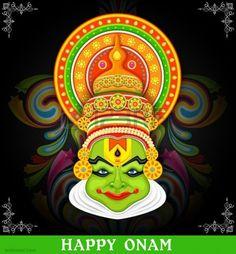 25 Beautiful Onam Greeting Card Designs and Onam Wishes - 17 onam wishes kathakali Kerala Mural Painting, Tanjore Painting, Indian Art Paintings, Kalamkari Painting, Kathakali Face, Onam Greetings, Onam Wishes, India Art, Mural Art