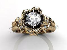 14k yellow gold diamond unusual unique flower engagement ring