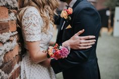 Bright and colourful wedding corsage and buttonhole for Melbourne wedding Floral Wedding, Wedding Colors, Alternative Bouquet, Melbourne Wedding, Corsage Wedding, On Your Wedding Day, Florals, Bright, Couples