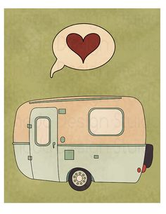 Camp Trailer Love 8 x 10 Print I Heart by RhodaDesignStudio, $20.00