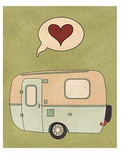 Camp Trailer Love 8 x 10 Print I Heart by RhodaDesignStudio, $20.00