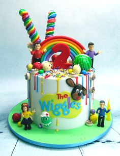 Wiggles drip cakes Toddler Birthday Cakes, Second Birthday Cakes, Wiggles Birthday, Wiggles Party, Harry Birthday, 3rd Birthday Parties, Birthday Ideas, Wiggles Cake, The Wiggles