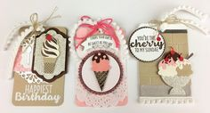 3 Cool Treat ice cream tags embellihed with ice cream cones and sundaes from Stampin' Up's Cool Treats bundle designed by Lynda Falconer at www.crafterinspired.com