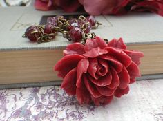Cranberry Red Rose Necklace