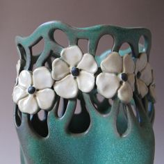 Art Nouveau Style Vase in Matte Green with white by MaidOfClay