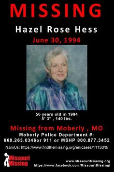 Find missing Hazel Rose Hess!She has been missing for almost 44 years. Creepy Images, Amber Alert, Missing Persons, Cold Case, Looking For Someone, Missouri, To My Daughter, Knowledge, Cases