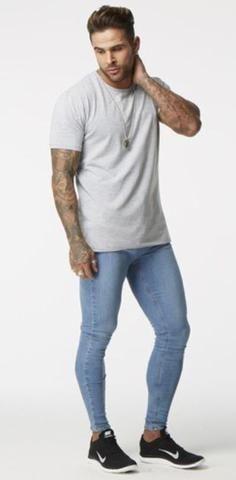 Fashion Casual Jeans Men's Ripped Skinny Biker Destroyed Frayed Slim F – myshoponline.com