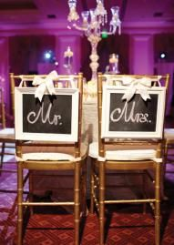 Frame Mr. & Mrs and hang from the back of the bride's and groom's chairs. Tie with a bow. Adorable!