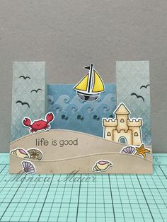 Lawn Fawn Life is good Fun Fold Cards, Folded Cards, Fun Cards, Card Making Inspiration, Making Ideas, Scrapbooking Technique, Side Step Card, Bridge Card, Nautical Cards