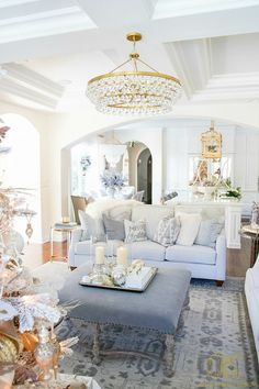 Christmas Home Tour 2017 - Silver and Gold Christmas. Christmas Home Tour 2017 - Silver and Gold Christmas - Randi Garrett Design. Christmas Home Tour 2017 - Silver and Gold Christmas Christmas Home, Room, Room Design, Interior, Home, Gold Living Room, Interior Design, Home And Living, Living Room Designs