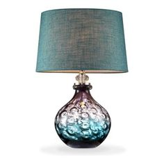 OK Lighting - Mojave Glass Table Lamp, Purple and Turquoise - Table Lamps