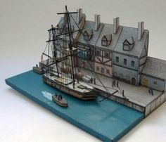 Old Harbor Dock Diorama Paper Model - by Oliver Bizer - Antigo Cais Do Porto  --          A really beautiful paper model diorama by German designer Oliver Bizer. This model is located at Mini Models Series page.