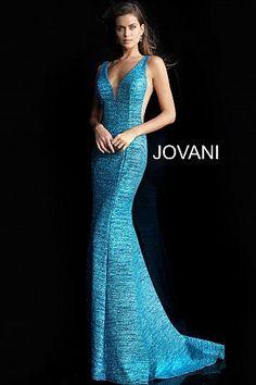 523ca540767b6 Peacock Glitter Jersey Plunging Neckline Prom Dress 45811 Plunging Neckline  Style, Open Back Prom Dresses. jovani.com