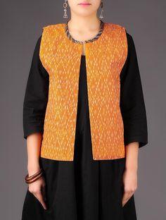 Orange - Multi-Color Khand - Ikat Cotton Reversible Jacket