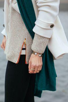 details, @lorenhope marley cuff, stripe tee, zipper sweater