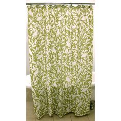 @Overstock.com - Waverly Birdsong Shower Curtain - Bring distinctive style to your bathroom with this decorative Waverly shower curtain featuring a white silhouette of birds and foliage against a green apple background. This gorgeous shower curtain will easily complement any style of decor.  http://www.overstock.com/Bedding-Bath/Waverly-Birdsong-Shower-Curtain/6420319/product.html?CID=214117 $26.99